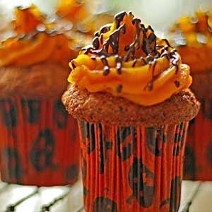 Sundere Halloween: Gulerodsmuffins med græskarcreme.