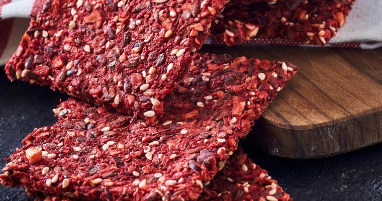 Glutenfri knækbrød med rødbede og ingefær