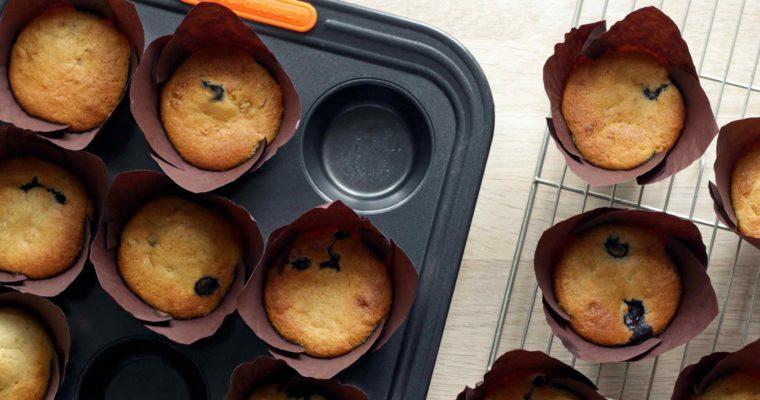 Glutenfri blåbærmuffins uden smør