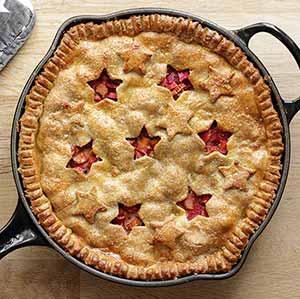 Opskrift: Glutenfri tærte fyldt med skønne rabarber.