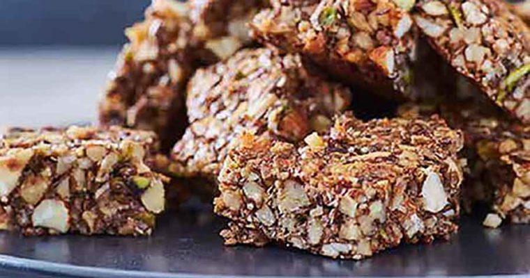 Glutenfri snackbar med nødder og vanilje
