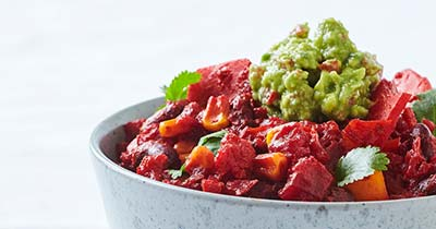 Chili sin carne med spicy guacamole